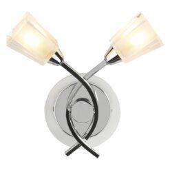 Dar AUS0950- Austin 2lt Wall Light, Polished Chrome, Glass