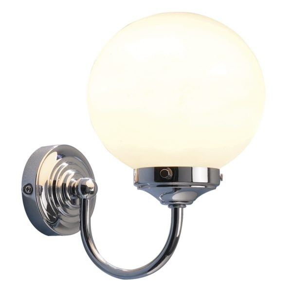 Dar BAR0750- Barclay 1lt Wall Light, Polished Chrome, Opal Glass