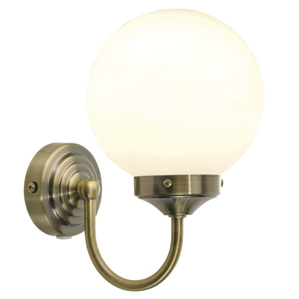Dar BAR0775- Barclay 1lt Wall Light, Antique Brass, Opal Glass