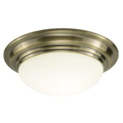 Dar BAR5075- Barclay 1lt Flush, Antique Brass, Opal Glass