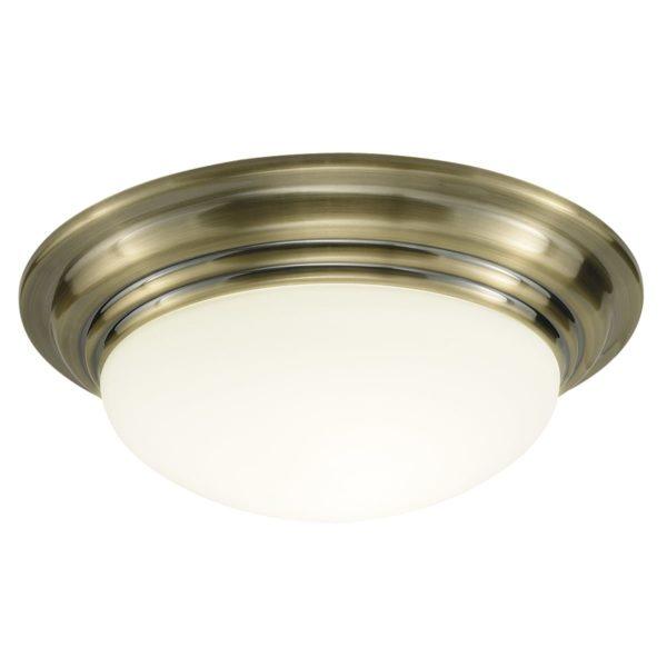 Dar BAR5075- Barclay 1lt Flush, Antique Brass, Opal Glass
