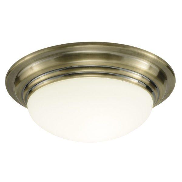 Dar BAR5275- Barclay 1lt Flush, Antique Brass, Opal Glass