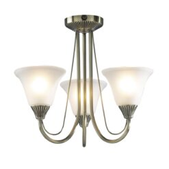Dar BOS03- Boston 3lt Semi Flush, Antique Brass, Opal Glass