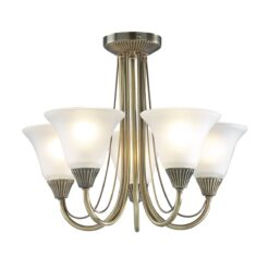Dar BOS05- Boston 5lt Semi Flush, Antique Brass, Opal Glass