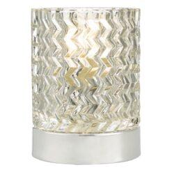 Dar BRA4050- Braydon 1lt Table Lamps, Polished Chrome, Glass