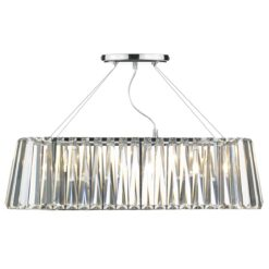 Dar CEC0350- Cecilia 3lt Bar Pendant, Clear Faceted Crystal, Polished Chrome