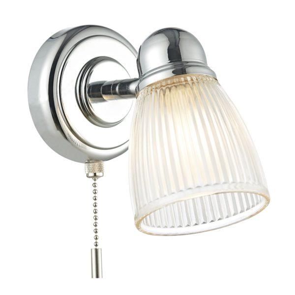 Dar CED0738- Cedric 1lt Wall Light, Polished Chrome, Glass