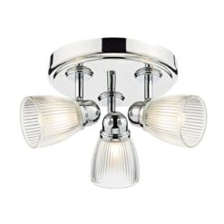 Dar CED7638- Cedric 3lt Flush, Polished Chrome, Ribbed Glass