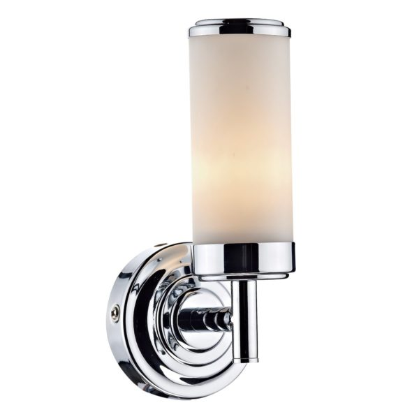Dar CEN0750- Century 1lt Wall Light, Polished Chrome, Opal Glass