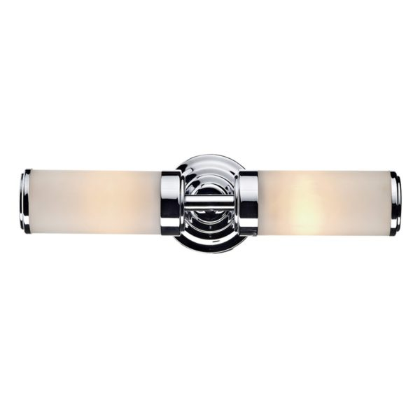 Dar CEN0950- Century 2lt Wall Light, Polished Chrome, Opal Glass