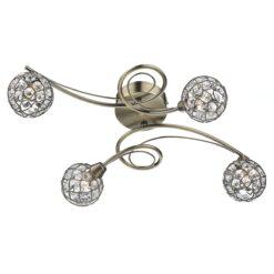 Dar CIR0475- Circa 4lt Flush, Antique Brass, Glass