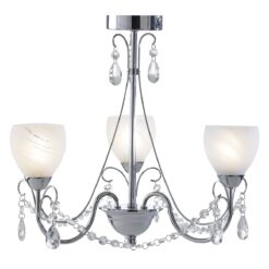 Dar CRA0350- Crawford 3lt Semi Flush, Polished Chrome, White Alabaster Glass