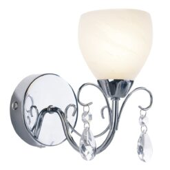 Dar CRA0750- Crawford 1lt Wall Light, Polished Chrome, White Alabaster Glass