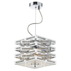 Dar CUB0350- Cube 3lt Multi Arm Pendant, Polished Chrome, Clear Faceted Crystal
