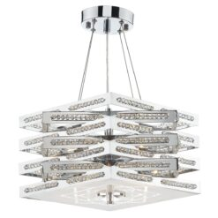 Dar CUB0550- Cube 5lt Multi Arm Pendant, Polished Chrome, Clear Faceted Crystal