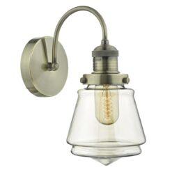 Dar CUR0775- Curtis 1lt Wall Light, Antique Brass, Champagne Glass