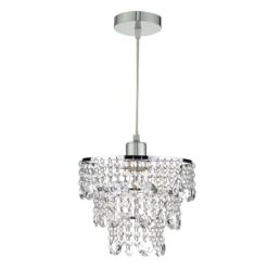 Dar CYB6550- Cybil 1lt Shade, Clear Faceted Crystal, Polished Chrome
