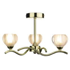Dar CYN0340- Cynthia 3lt Semi Flush, Polished Brass, Glass