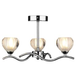 Dar CYN0350- Cynthia 3lt Semi Flush, Polished Chrome, Glass