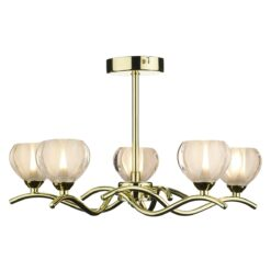 Dar CYN0540- Cynthia 5lt Semi Flush, Polished Brass, Glass