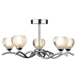Dar CYN0550- Cynthia 5lt Semi Flush, Polished Chrome, Glass