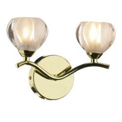 Dar CYN0940- Cynthia 2lt Wall Light, Polished Brass, Glass