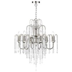 Dar DAN0638- Daniella 6lt Multi Arm Pendant, Polished Nickel, Crystal