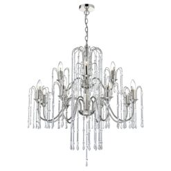 Dar DAN1238- Daniella 12lt Multi Arm Pendant, Polished Nickel, Clear Faceted Crystal