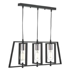 Dar DAX0350- Dax 3lt Bar Pendant, Matt Black, Polished Chrome