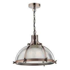 Dar DEB0164- Debut 1lt Single Pendant, Antique Copper, Ribbed Glass