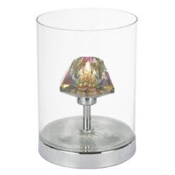 Dar DEC4108- Decade 1lt Table Lamps, Polished Chrome, Glass