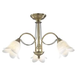 Dar DOU0375- Doublet 3lt Semi Flush, Antique Brass, White Alabaster Glass