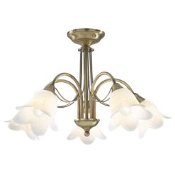 Dar DOU0575- Doublet 5lt Semi Flush, Antique Brass, White Alabaster Glass