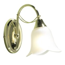 Dar DOU0740- Doublet 1lt Wall Light, Polished Brass, Glass