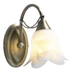 Dar DOU0775- Doublet 1lt Wall Light, Antique Brass, White Alabaster Glass