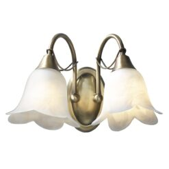 Dar DOU0975- Doublet 2lt Wall Light, Antique Brass, Alabaster Glass