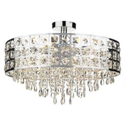 Dar DUC0650- Duchess 6lt Semi Flush, Polished Chrome, Clear Faceted Crystal