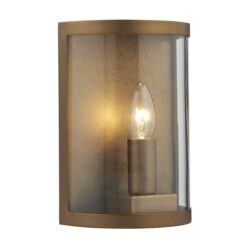 Dar DUS2142- Dusk 1lt Wall Light, Natural Brass, Glass