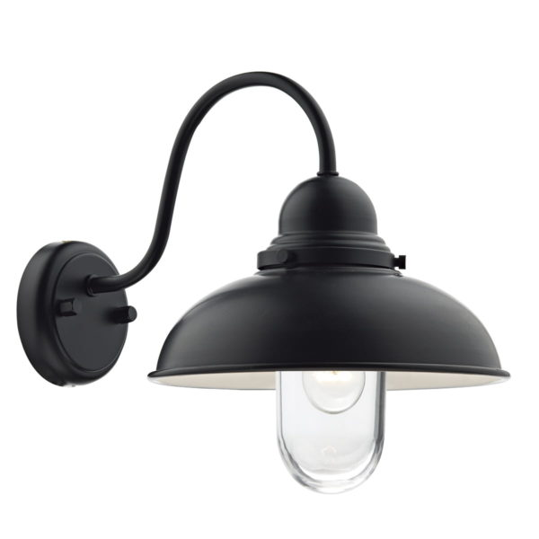 Dar DYN0722- Dynamo 1lt Wall Light, Black, Glass