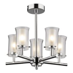 Dar ELB0550- Elba 5lt Semi Flush, Polished Chrome, Glass