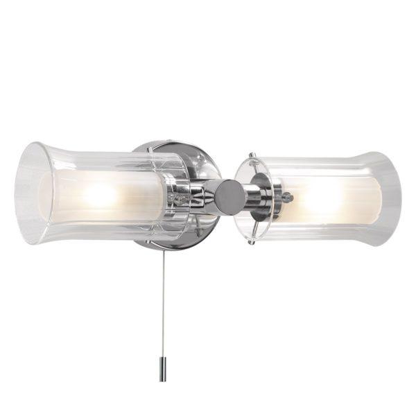 Dar ELB0950- Elba 2lt Wall Light, Polished Chrome, Glass