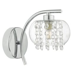 Dar ELM0750- Elma 1lt Wall Light, Polished Chrome, Glass