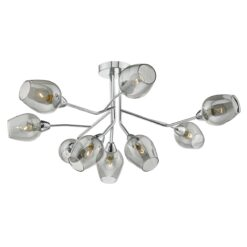 Dar ELO1310- Eloise 9lt Semi Flush, Polished Chrome, Smoked Electro Plated