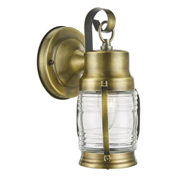 Dar ERN1563- Ernest 1lt Wall Light, Antique Brass, Glass