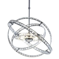 Dar ETE2350- Eternity 10lt Multi Arm Pendant, Clear Faceted Crystal, Polished Chrome
