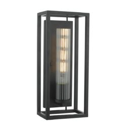 Dar FEL0722- Felipe 1lt Wall Light, Matt Black, Ribbed Glass