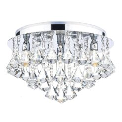 Dar FRI0450- Fringe 4lt Flush, Clear Faceted Crystal, Polished Chrome