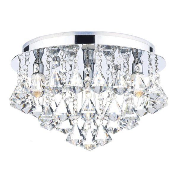 Dar FRI0450- Fringe 4lt Flush, Clear Faceted Crystal, Polished Chrome