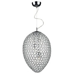 Dar FRO0350- Frost 3lt Multi Arm Pendant, Clear Faceted Crystal, Polished Chrome