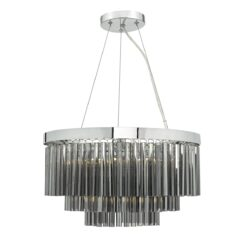 Dar GIO0510- Giovana 5lt Multi Arm Pendant, Smoked Glass, Polished Chrome